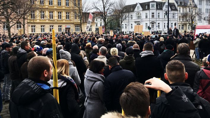 Demonstranten in Cottbus am 20.01.2018 (Quelle: rbb/ Haentjes)