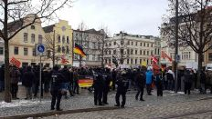 Demonstranten am 17.03.2018 auf dem Altmarkt in Cottbus (Quelle: rbb/Sebastian Schiller)