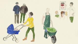 Illustration: Solidarisches Grundeinkommen, Babysitten, Betreuung von Älteren, Alltagsbegleitung, kulturelle Bildung (Quelle: rbb/Caroline Winkler)