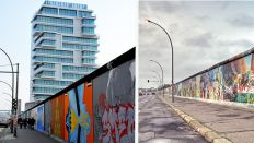 Bildcollage: Die East Side Gallery in Berlin. Links von 2017 mit dem Living Levels Tower und rechts von 2008 (Quelle: Imago/Brexel)