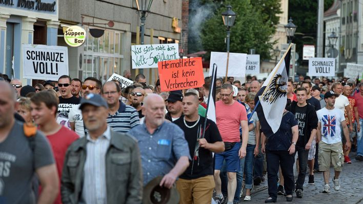 Demonstration in Cottbus im Juli 2017 (Quelle: imago/Lausitznews)