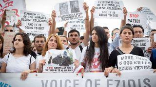Demonstration von Jesiden in Berlin (Quelle: Imago/Mang)