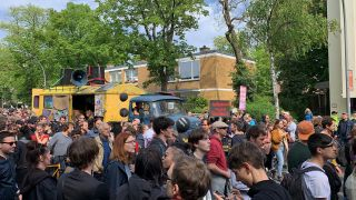 Demonstrationszug <<MyGruni>> in Berlin Grunewald. (Quelle: rbb/Rehmann)
