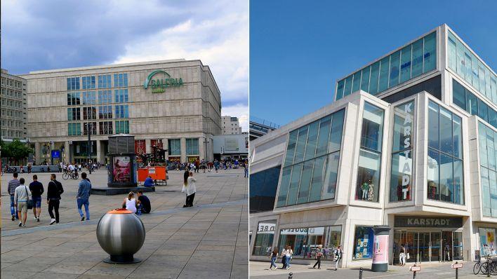 0fa6368b87 Das Galeria-Kaufhof-Gebäude am Alexanderplatz (l.) und das Karstadt-