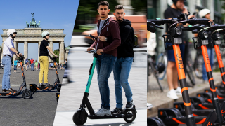 Kollage: E-Scooter-Fahrer in Berlin. (Quelle: dpa)