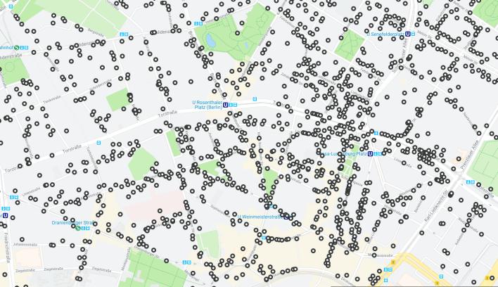 Auf dem Ausschnitt einer Stadtkarte sind die von den Nazis im dritten Reich verfolgten Opfer eingetragen. (Quelle: rbb)