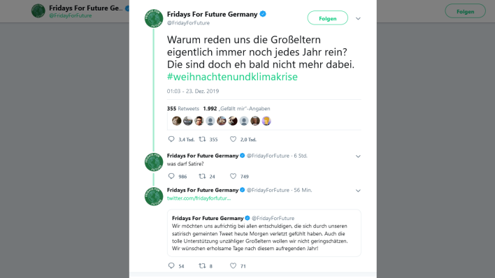Screenshot (Quelle: Fridays for Future/twitter)