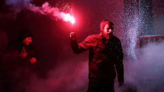 Karim Daoud während der Fotoprobe zu Schwarzer Block im Maxim Gorki Theater in Berlin (Quelle: Imago Images/Martin Müller)