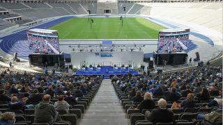 Die Mitgliederversammlung bei Hertha BSC im Olympiastadion. Quelle: dpa/Jörg Carstensen
