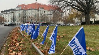 Hertha-Flaggen am Theordor-Heuss-Platz (Quelle: rbb)