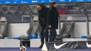 Hertha Manager Michael Preetz (links) und Trainer Bruno Labbadia. Bild: imago-images/Nordphoto