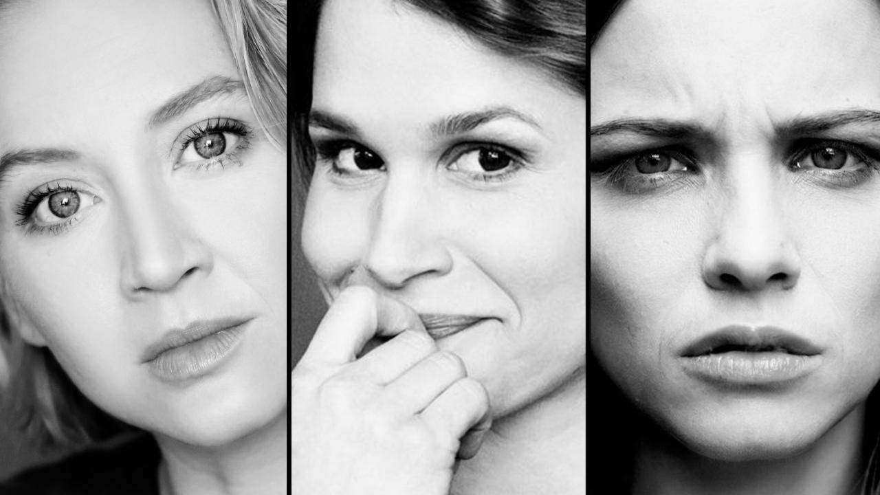 """Coverbild des Podcasts """"Unter dry"""" mit Anna Maria Mühe, Cristina do Rego und Jasna Fritzi Bauer. (Bild: Podstars by OMR)"""
