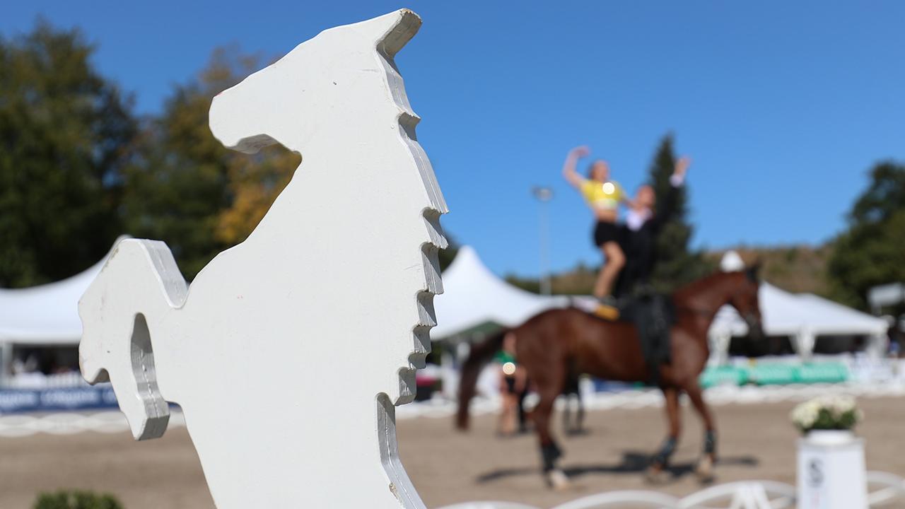 Symbolbild: Turner sind beim Voltigieren auf einem Pferd zu sehen vor einer Dressurprüfung. (Quelle: dpa/Friso Gentsch)