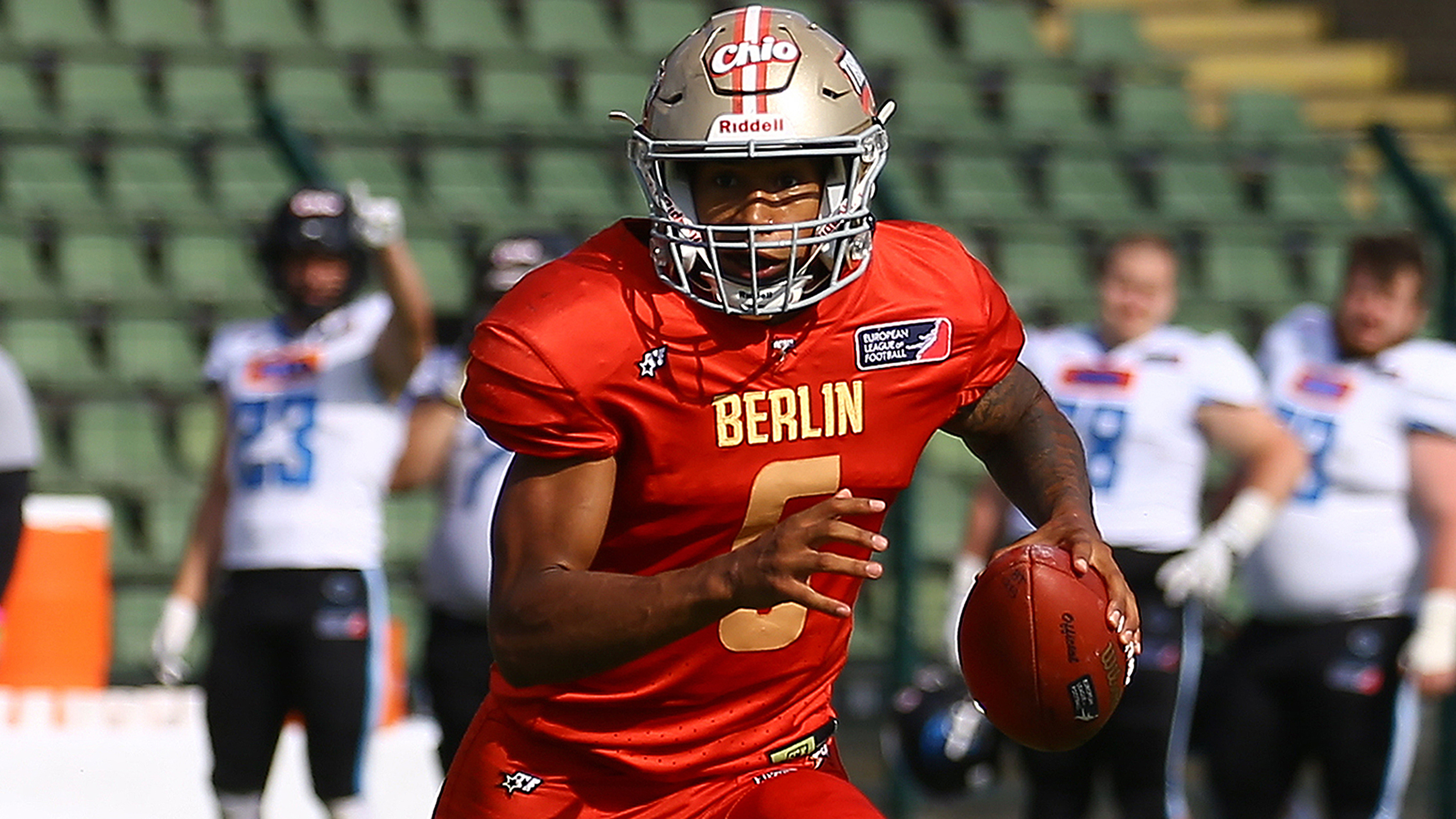 Quarterback Calvin Stitt in einem Spiel von Berlin Thunder (Archiv). Quelle: dpa/Michael Hundt