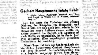 """Zamienny artykuł prasowy w """"Marchische Volksstimme"""" 1946 (fot. Archiwum Miejskie Cottbus)"""